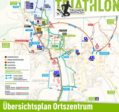Verkehrsinfo und Ortszentrum von Obertrum am See